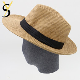 Straw Jazz Hat Women Canada - Wholesale-Hot Sale Summer Hat Women 2016 Beach Straw Panama Hats For Men Trendy Unisex Fedora Trilby Jazz Hats Travel Panama Outdoor Hats