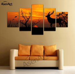 discount picture frames cats 5 panel canvas art leopard tiger cat deer animal pictures print on - Discount Photo Frames
