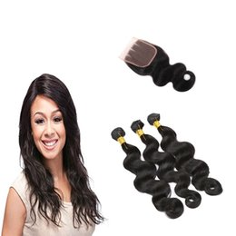 Discount tangle free hair extensions - 7A Grade Unprocessed Virgin Human Hair Extensions Brazilian Body Wave 3 Bundles with Lace Closure Free Part Tangle Free