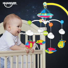 plastic crib mobiles 2021 - dhgate Baby bed bell 0-1 year old newborn 0-12months toy rotating music hanging baby rattle bracket set baby crib mobile