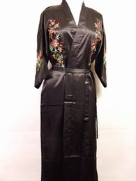 Wholesale new lady s gown resale online - Hot New Lady Satin Bathrobe Night Gown Embroidered Sleepwear Kimono Gown Floral Lounge Wear Dropshipping Size S To XXXL S016