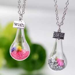 Wholesale Fashion Wish Floating Bottle Necklace Crystal Dried Flower Necklace Pendants for women Float Locket Living Fashion jewelry