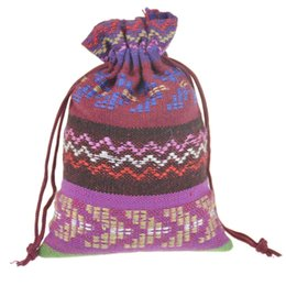 $enCountryForm.capitalKeyWord Canada - 10x14cm Purple Small Drawstring Jewelry Bags Cotton Gift package Pouches Wavy Handmade Ethnic Tribal Tribe style 3.9''x5.5'' 100pcs