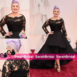 Barato Vestido De Renda Preta-2016 87º Oscar Kelly Osbourne Vestidos de celebridade de manga comprida Lace Scallop Preto High Low Red Carpet Vestido de noite completo Party Ball Gowns