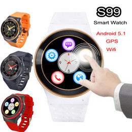 Smartwatch Gps Wifi Camera Canada - 100% ZGPAX 3G Android 5.1 Smart Watch Phone Wifi S99 Quad Core 4GB 1.3GHz WCDMA Bluetooth Smartwatch Mic SIM Heart Rate 3.0MP Camera GPS FM