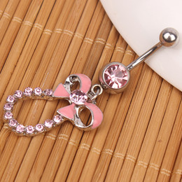 $enCountryForm.capitalKeyWord NZ - D0127 ( 2 colors ) Nice bowknot style piercing body jewelry Navel belly ring 10 pcs CLEAR color stone drop shipping