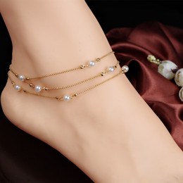 $enCountryForm.capitalKeyWord Canada - Multilayer copper bead chain Pearl Anklet Bracelet Vintage 18K Gold Plated Summer Barefoot Sandals Foot Jewelry