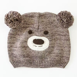 Cute Brown Bear Canada - Wholesale Brown Bear Cotton Toddler Hat Cute Baby Hat Embroidery Crochet Baby Beanies Kids Fall Winter Cap Handmade Windproof Earmuff Cap