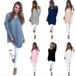 Barato Cores De Pulôver-Mulheres V Neck Pullover Loose Sweater Casual Long Sleeve Tops Pullover Sweatshirt Jumper Kintted Sweaters 7 cores 5pcs OOA3417