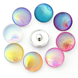 shell snap button NZ - 100Pcs Colorful shell 18mm Button NOOSA Ginger Snap Charms Jewelry Interchangeable Jewerly Charms Pendants Necklace 2016