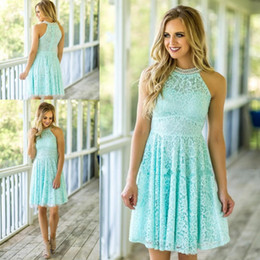$enCountryForm.capitalKeyWord Canada - Custom Made Mint Lace Bridesmaid Dresses 2017 Country Beach Weddings with Pearls High Neck Mini Formal Maid of Honor Gown