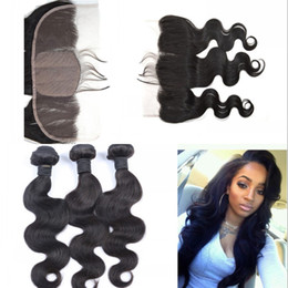 chinese silk tops 2019 - Human Hair Silk Lace Frontal with 3 Bundles Top Quality European Virgin Hair Body Wave Hair with Closure G-EASY discount