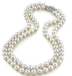 Pearl Double Strand UK - Elegant double strands 8-9mm south sea white pearl necklace 18inch 19inch 925 silver clasp