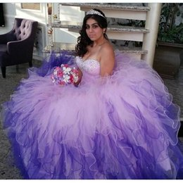 Lilas Robe De Bal Pas Cher-2016 Robe New Fashion Quinceanera sweetheart Crystal Ball Ruffles Tulle Lilas 16 Sweet Girls princesse Prom Party Robes Custom Made