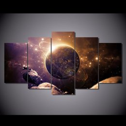 $enCountryForm.capitalKeyWord NZ - 5 Pcs Set Framed Printed Planet of the universe Painting Canvas Print room decor print poster picture canvas Free shipping ny-5749