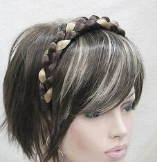 Clip Charms Free Shipping Australia - free shipping beautiful charming hot New Fashion Light Golden Brown Headband Double Braided Hair Plastic Shades
