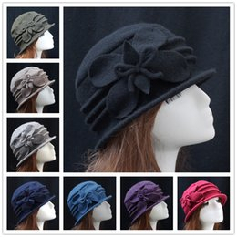 Army Wool Hat NZ - Ladies Butterfly 100% Wool Vintage Elegant Flanging Dome Bucket Hat Cap Gift For Mother