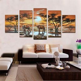 $enCountryForm.capitalKeyWord Australia - NEW 2016 Handmade 5 pcs set Paintings famous oil painting high quality Modern artists painting African landscape