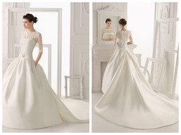 $enCountryForm.capitalKeyWord Canada - 2016 nNew High-Necked Long-Sleeved A-Line Formal Wedding Dresses Mesh Lace Applique Church Long Tail Bride Sexy Wedding Dress Plus Size
