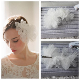 flower bridal hair Canada - Elegant White Wedding Hair Flowers With Silver Clip Bridal Accessories Bridal Tiaras & Wedding Hair Accessories Head Flowers For Brides