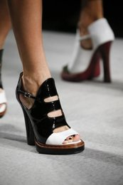 Black Blocks Canada - 2016 new Black Cut-out Sandals block heel and open toe multicolored leather ankle strap platform sole and sculpted high heel sandals