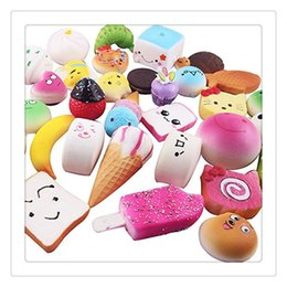 cartoon holder cakes NZ - 2017 New Squishies Slow Rising Squishies Mini Squishy Phone Straps Foods Phone Charm Key Chain Strap Lovely Bread Cake Jumbo Squishies