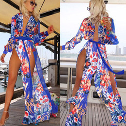 Long Summer Dresses Sale NZ - Sexy High Split Two Side Long Women Dress Deep V Neck Long Sleeve Beach Holiday Dress Printed Chiffon Casual Dress Hot Sale 2016 Summer