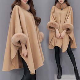 shawl collar long wool coat Canada - new fashion Autumn Winter High quality Long Wool coats Batwing Sleeve Fox Stand collar woollen shawl Blends Wool coats