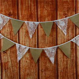 $enCountryForm.capitalKeyWord Canada - Fabric Bunting NAVY BLUE & WHITE LACE Wedding Street Party Wedding Decoration Flag Bud Silk Linen Pennants Hang Article Party Supplies