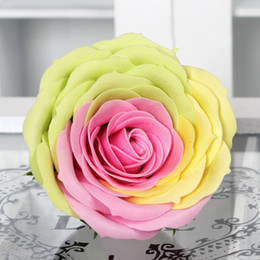 Rose Bathroom Accessories Canada - New Rainbow 7 colorful Rose Soaps Flower Packed Wedding Supplies Gifts Event Party Goods Favor Toilet soap Scented bathroom accessories