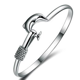 Fashion Women Jewelry Solid 925 Sterling Silver Dolphin Bangle Bracelet Gift Xpb7HWLJ64