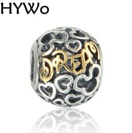 HYWo Marcas Disny Heart Dream Beads Se adapta a Pandora Charms diy Pulsera Beads 925 Plata de ley 14K Joyería de oro real por mayor