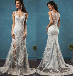 Sheath Column Wedding Dress Buttons Canada - Blue Satin Amelia Sposa Lace Wedding Dresses Sheath Split Summer Beach 2019 Bridal Gowns V Neck Covered Button Sweep Train