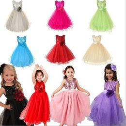 Fille De Mode Années Enfants Pas Cher-Hot Girls Robes enfants pour enfants Sequins Polyester Tulle Dentelle Fleur Big Flower Pageant Wedding Fashion Dress 3-10 Année 11593