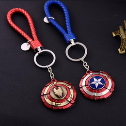 $enCountryForm.capitalKeyWord Canada - New Captain America Shield Metal Keychains Key Ring Superhero Movie The Avengers Keychain Iron Man Keyrings Keyfob Men Gift