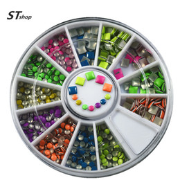 Barato Etiquetas Da Arte Do Prego Punk-Atacado - One Wheels New Fashion Punk Neon 3d Nail Art Studs DIY Square Round Decorações coloridas DIY Tools Celular Adesivos NC050