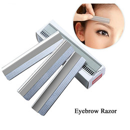 Outils De Maquillage En Gros Pas Cher-Vente en gros HOT 100pcs Eyebrow Razor Stainless Steel Microblading coupe-sourcils Brow Shaving Trimmers Make Up Tools