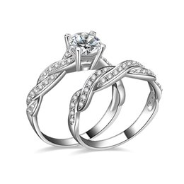 China Fashion Jewelry Wedding Rings For Women High Quality White Gold Plated Wave CZ Wedding Engagement Ring Set For Girl suppliers