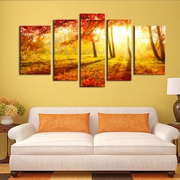 $enCountryForm.capitalKeyWord UK - Canvas Painting Wall Art 5 Panel The Picture For Home Decoration Beautiful Maple Trees And Leaves Foggy Forest Landscape Forest Print