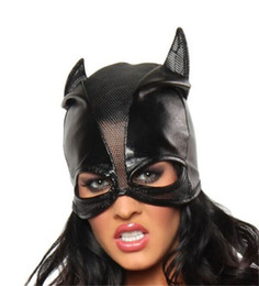 Masque De Chat Cosplay Pas Cher-Grossiste-Noir PVC Cat Femmes Cuir Wet Look Head Masque Costume Lingerie Sexy Holloween Cosplay