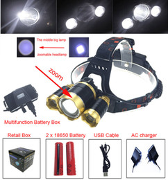rechargeable power bank NZ - RJ-5000 Headlamp LED Headlight 18650 CREE T6 8000 Lumens 3Led USB Power bank Rechargeable Hunting zoomable Head Light Charger