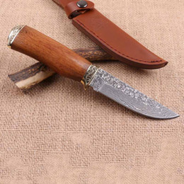 best outdoor survival knife 2019 - Drop shipping Damascus Steel Survival Hunting knife Natural Rosewood Handle Outdoor Camping Hunting Fishing Fixed blade
