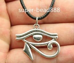 Egypt Pendants Australia - Hot Sell! 20pcs lot Tibetan Silver Rah Egypt Eye Of Horus Egyptian Necklace Choker charms Pendant Black Leather Necklace