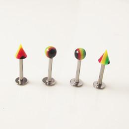 Lip Piercing Wholesale NZ - 100pcs Rainbow Ball Spike Stainless Steel Tragus Ear Piercing Lip Labret Rings Helix Earring Body Piercing Jewelry