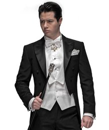 Manteaux Sur Mesure Pas Cher-Mariage en gros-Custom Made Noir Frac Groom Smokings Groomsmen Mens Suits Prom Epoux (veste + pantalon + veste + Cravate) NO: 838
