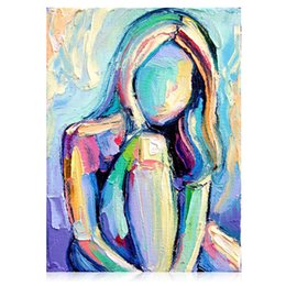 Discount textured oil paintings - KGTECH Contemporary Artist Paintings Textured Girl Pop Art Figure Painting Handmade Acrylic Wall Decor 16x21.65Hinch(40x