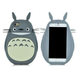 3d Cute Cat Case Canada - 35pcs 3D cute Japen gray cat Totoro cartoon smart phone case for iphone 5 5s 6 6s plus cell phone case soft silicone