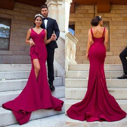 Hot arabic evening dresses online shopping - Hot Burgundy Sweep Train Arabic Evening Dresses Party Occasion Gowns Front Spit Sexy V Neck Vestidos Mermaid Prom Dress