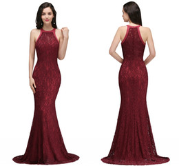 Burgundy Mermaid Prom Dresses 2018 Full Lace Halter Sleeveless Zipper Back Long Evening Gowns Cheap Under 50 Vintage Special Wear