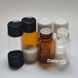 wholesale small perfume vials 2019 - Small 3ml Amber Glass Bottle Orifice Reducer Plug Essential Oil Mini Bottle Mini Clear Glass Perfume Sample Tubes Vial c